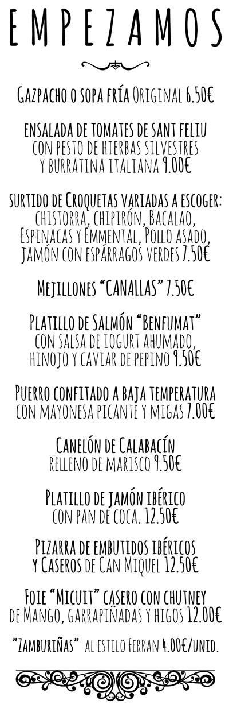 Can Miquel - Carta - Castellano - Empezamos