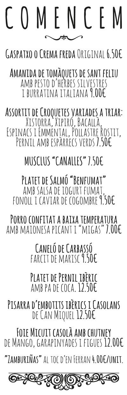 Can Miquel - Carta - Català - Comencem
